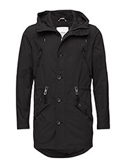 Coatedjacketwithhood - BLACK