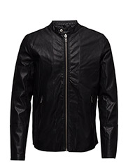 Imitatedleatherbikerjacket - BLACK