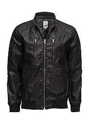 Imitated leather bomber - BLACK