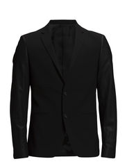 Blazer w. leather sleeves - BLACK