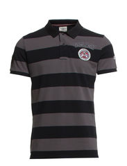 Striped polo piquè S/S - BLACK