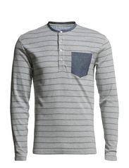 Striped granddad w pocket  L/S - GREY M/WHITE