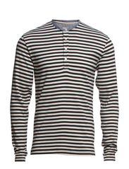 Striped granddad l/s - BLACK/WHITE