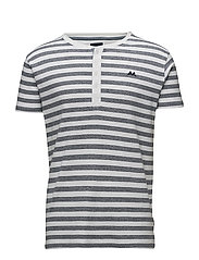 Y/D striped granddad S/S - WHITE