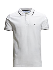 Contrast coloured polo pique - WHITE/BLACK