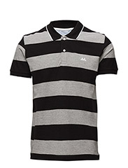 StripedpolopiquéS/S - BLACK GREY