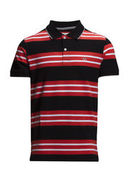 Contrast polo piqué S/S - BLACK/RED