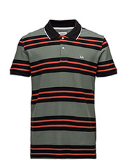 Contrast polo piqué S/S - GREEN/RED