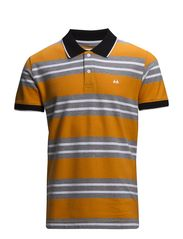 Contrast polo piqué S/S - ORANGE/GREY
