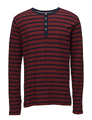StripedwafflegranddadL/S - MERLOT RED