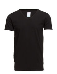 Mens stretch v-neck tee s/s - BLACK