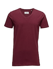 Mens stretch v-neck tee s/s - WINE RED