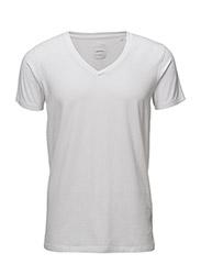 Mensstretchv-necktees/s - WHITE