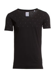 Garment dyed tee with print - BLACK