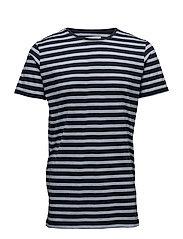 Stripedo-neckteeS/S - NAVY