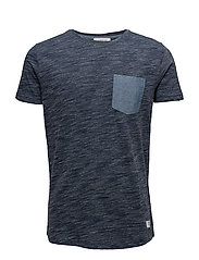 Space dyed tee O-neck - NAVY