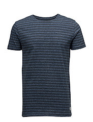 Striped mouliné o-neck tee S/S - SKY BLUE MIX