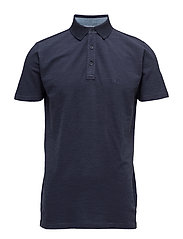Spaced dyed polo shirt S/S - NAVY MIX