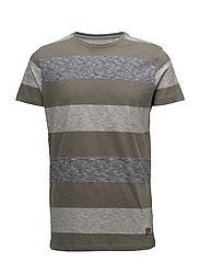 Tee w. Y/D uneven stripes - ARMY