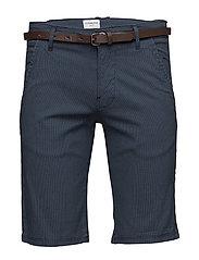 AOP chino shorts w. belt - NAVY
