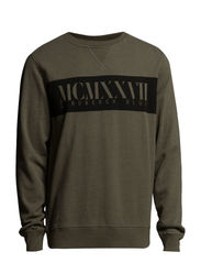 Crew-neck sweat w/print - ARMY MEL