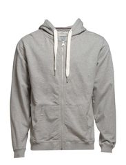 Hood sweat cardigan - GREY MEL