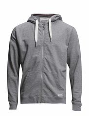 Hood sweat cardigan - LT GREY MEL