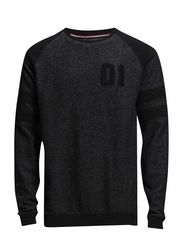 O-neck sweat w application - BLACK