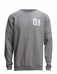 O-neck sweat w application - LT GREY