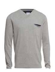 V-neck knit w. chestpocket - LT GREY MEL