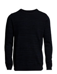 O-neck pearl knit - NAVY MIX
