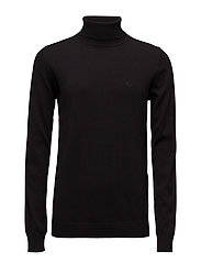 Cotton knit rolled neck - BLACK