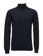 Cotton knit rolled neck - DK BLUE