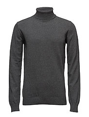 Cotton knit rolled neck - MED GREY MIX