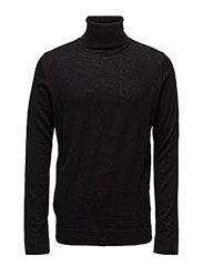 Merino knit roll-neck - BLACK