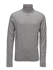 Merino knit roll-neck - LT GREY MIX