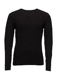 O-neck rib knit - BLACK
