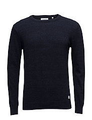 Cottonknitwitho-neck - NAVY MEL