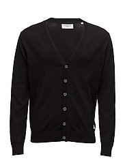 Cotton knit cardigan - BLACK