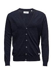 Cotton knit cardigan - NAVY MEL
