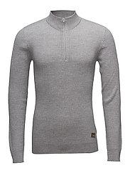 Zip neck knit, 3x2 - GREY MEL