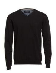 Basic V-neck cotton knit - BLACK