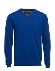 Basic V-neck cotton knit - BLUE