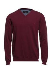 Basic V-neck cotton knit - BORDEAUX