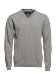 Basic V-neck cotton knit - GREY MEL