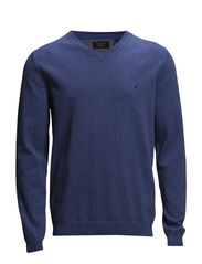 Basic V-neck cotton knit - MED BLUE