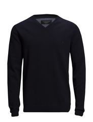Basic V-neck cotton knit - NAVY