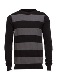 O-neck knit with stripes - BLACK