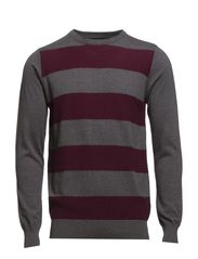 O-neck knit with stripes - BORDEAUX