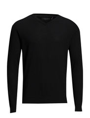 Merinoknitwithv-neck - BLACK